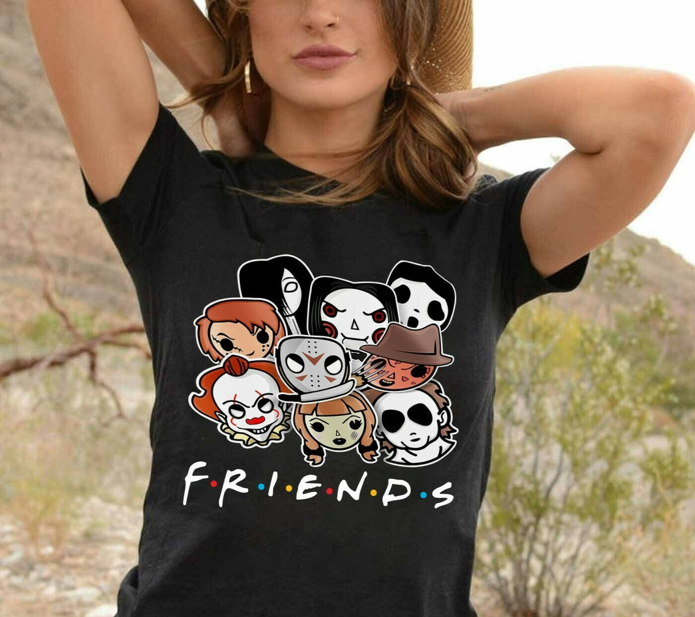 Friends Horror Face Squad Gifts for Fan Lover Horror Movie Friday The 13th Villains Halloween Horror movie mashup squad T-Shirt Long Sleeve Sweatshirt Hoodie Jolly Family Gifts
