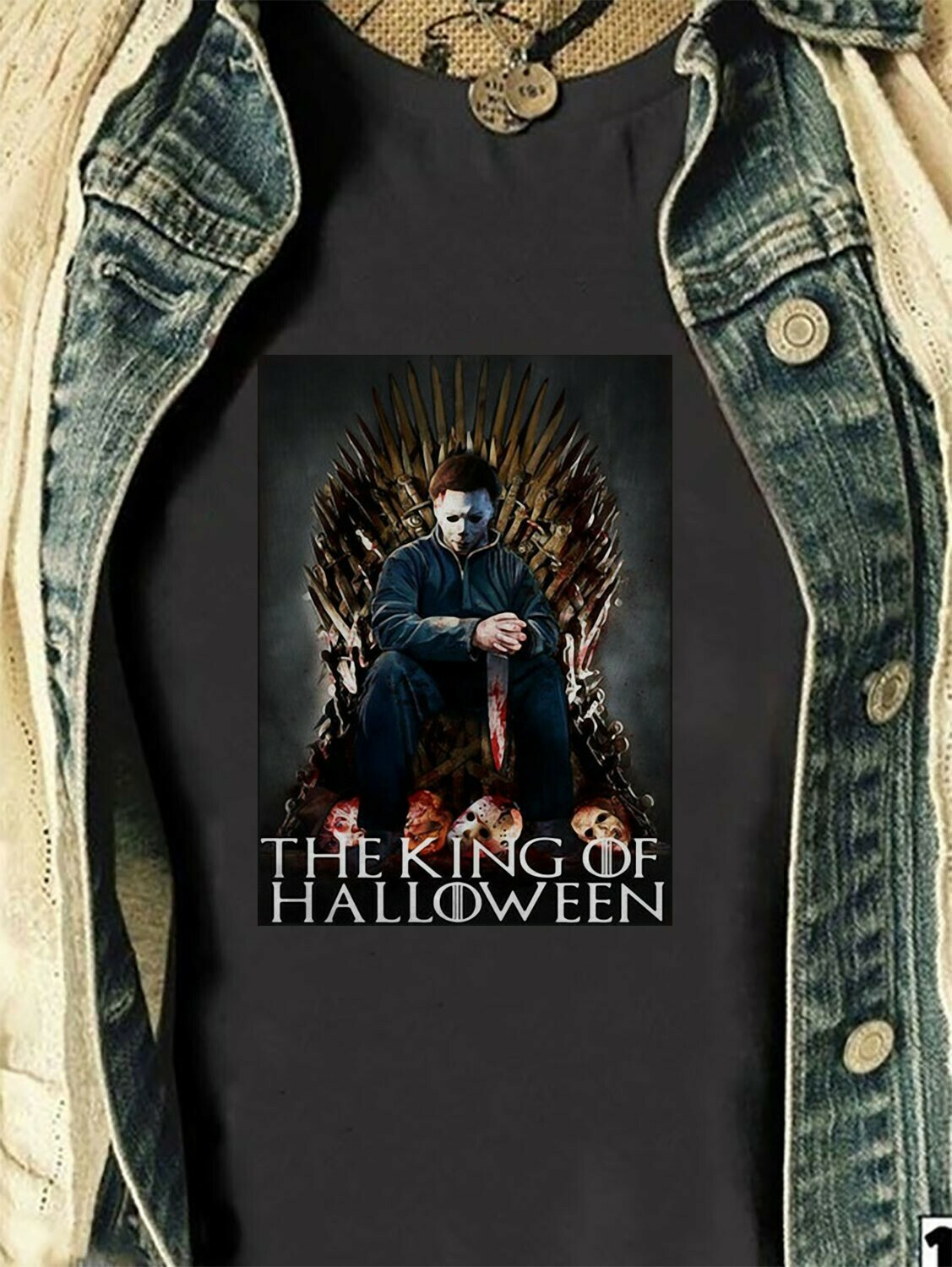 Michael Myers The King Of Halloween Cosplay Game of Thrones Gifts For Fan Movie Villains Halloween Horror Movie Mashup Squad T-Shirt Long Sleeve Sweatshirt Hoodie Jolly Family Gifts