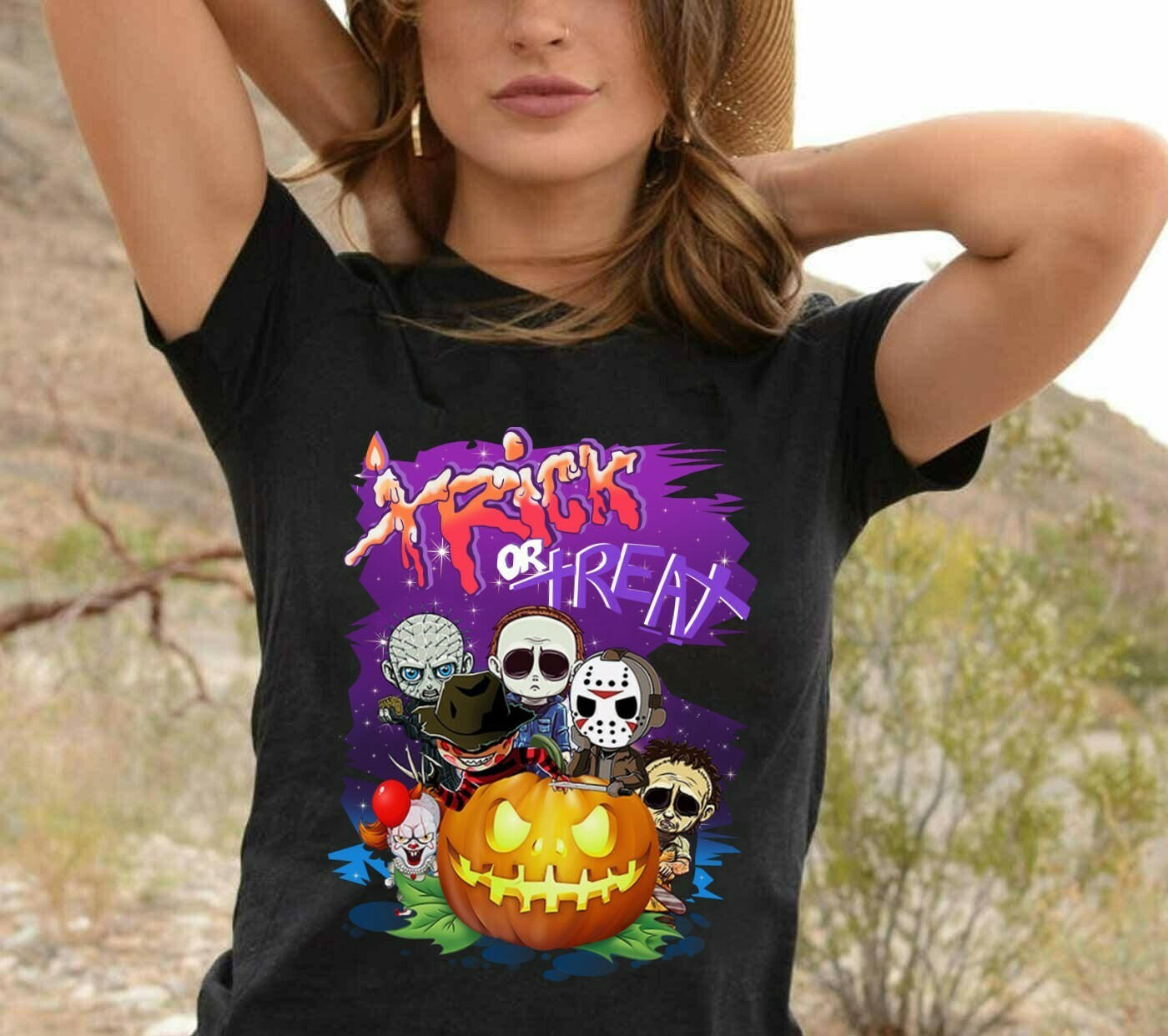 Chibi Horror Villains Trick Or Treat Halloween Pumpkin Friday The 13th Movie Villains Halloween Horror Movie Mashup Squad Unisex T-shirt Long Sleeve Sweatshirt Hoodie Jolly Family Gifts