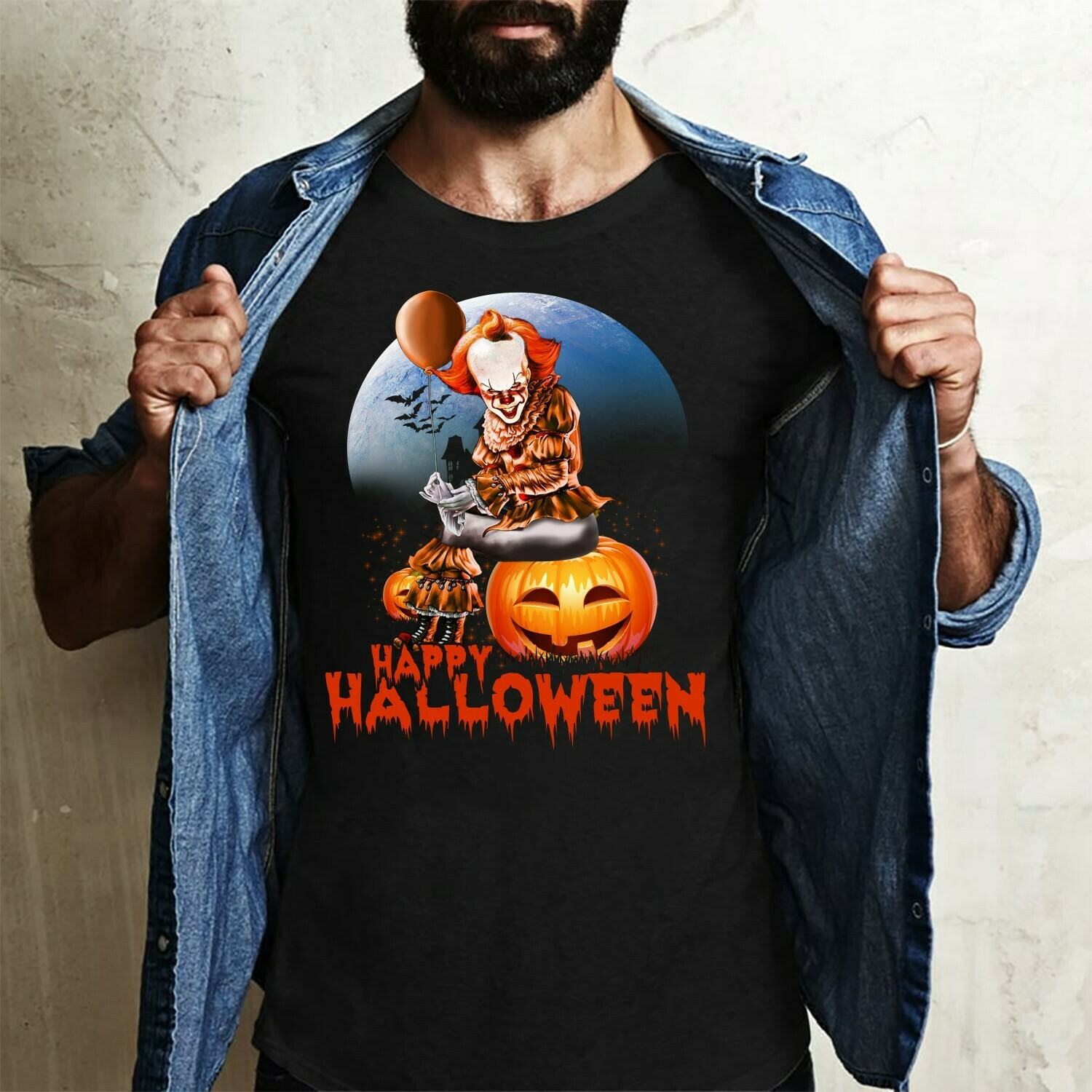 Happy Halloween Pumpkin IT Joker Pennywise 2019 We All Float Down Here Horror Spooky Clown Villains Halloween Movie Mashup Gifts T-Shirt Long Sleeve Sweatshirt Hoodie Jolly Family Gifts