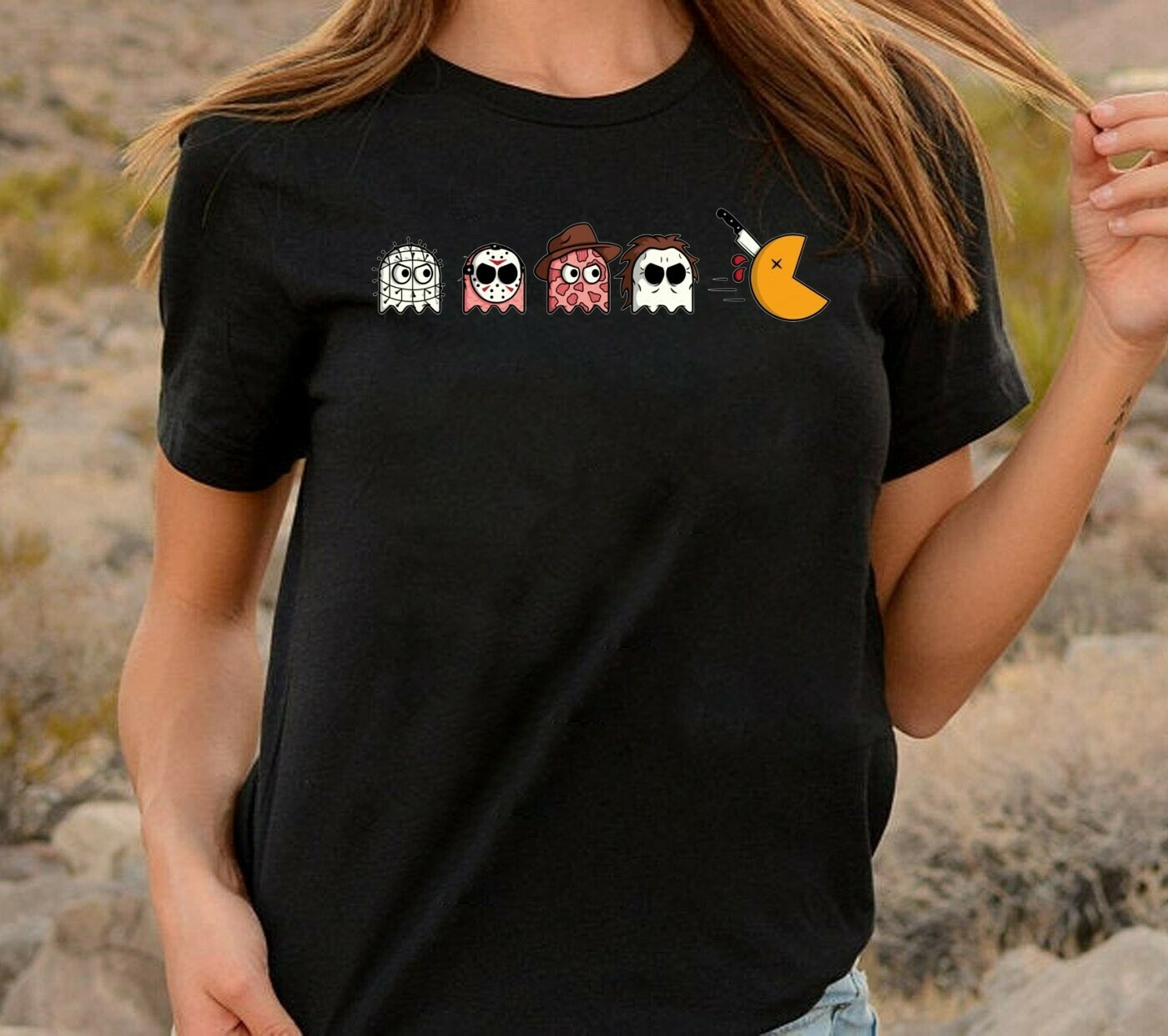 Funny Horror Character Cosplay Inspired Pacman Games Halloween Squad Friday The 13th Villains Halloween Horror Movie Mashup Squad T-Shirt Long Sleeve Sweatshirt Hoodie Jolly Family Gifts
