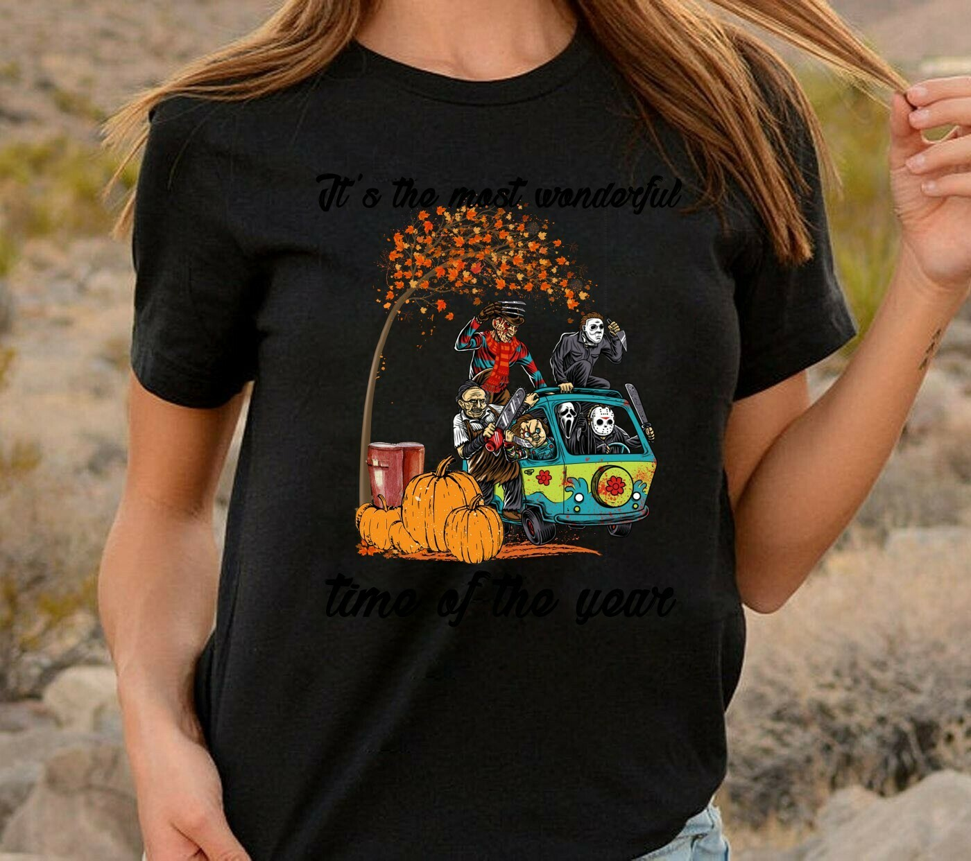 Hippie Van Car Fall Pumpkin Halloween It's The Most Wonderful Time Of The Year Friends Horror Movie Villains Halloween Horror Mashup T-shirt Long Sleeve Sweatshirt Hoodie Jolly Family Gifts