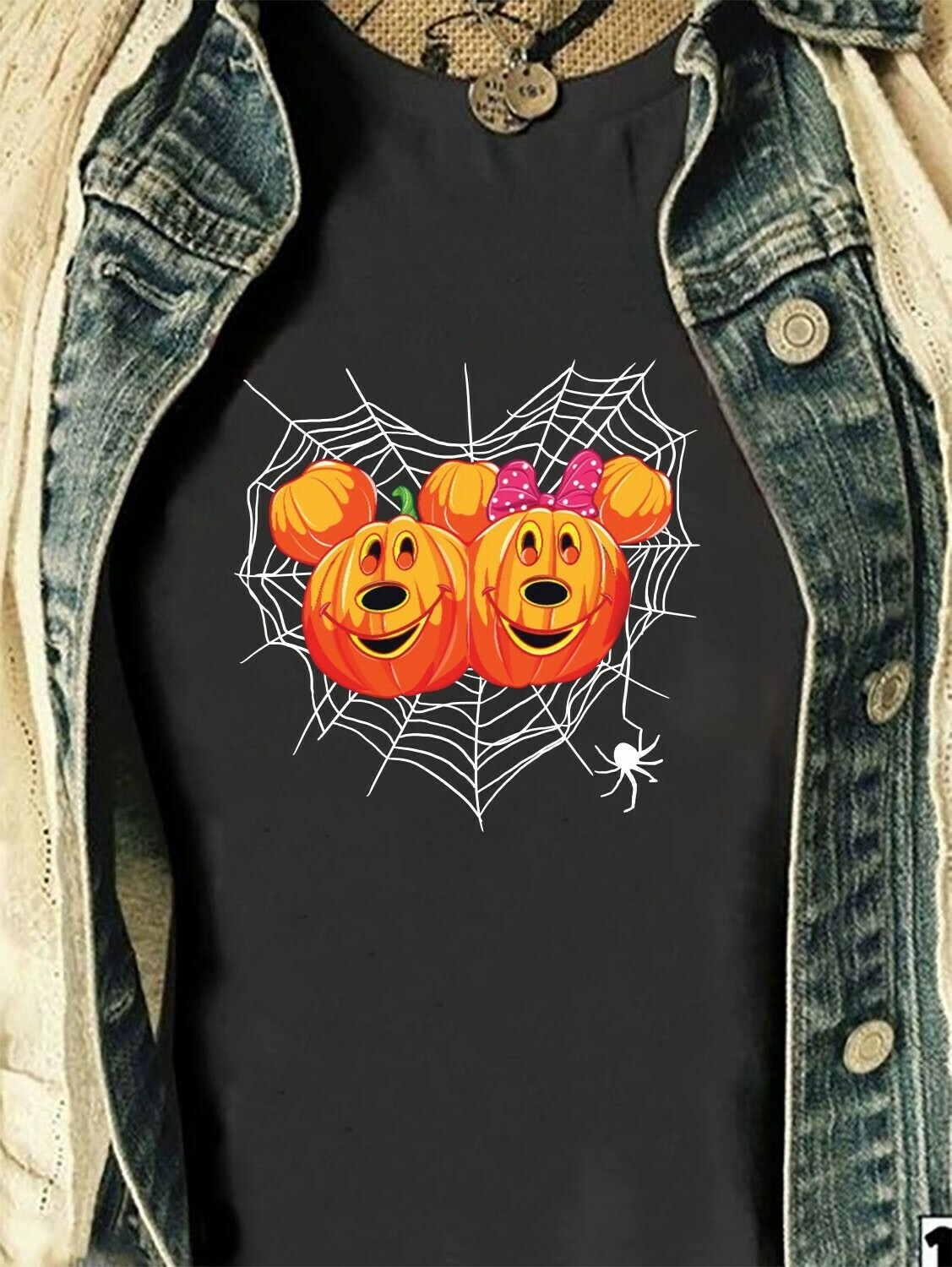 Pumpkins Disney Mickey Minnie Love Trick Or Treat Spider Not So Scary Halloween I'm going to Walt Disney Vacation Family Unisex T-Shirt Long Sleeve Sweatshirt Hoodie Jolly Family Gifts