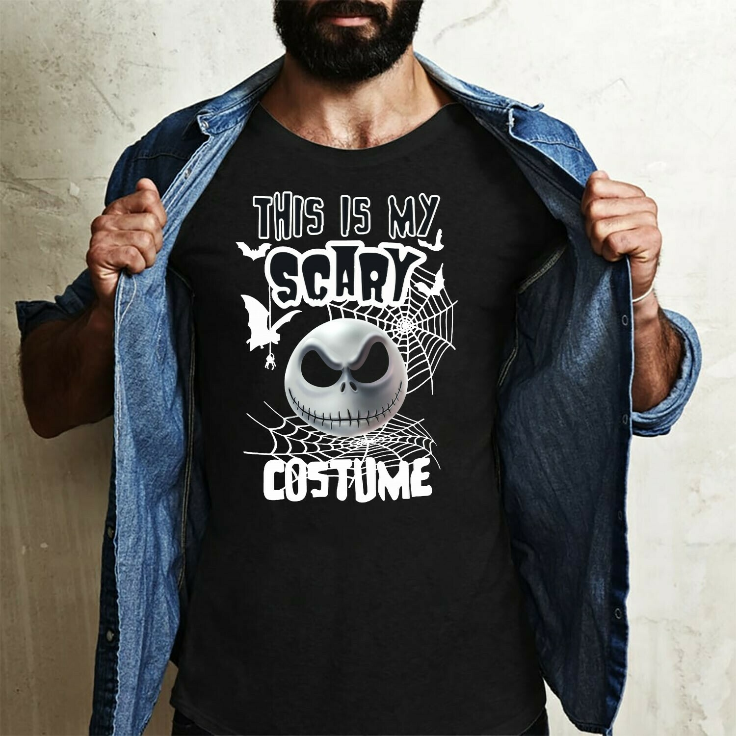 Jack Skellington This Is My Scary Costume The Nightmare Before Christmas Halloween Disney Villains Halloween Mickey Not So Scary T-Shirt Long Sleeve Sweatshirt Hoodie Jolly Family Gifts