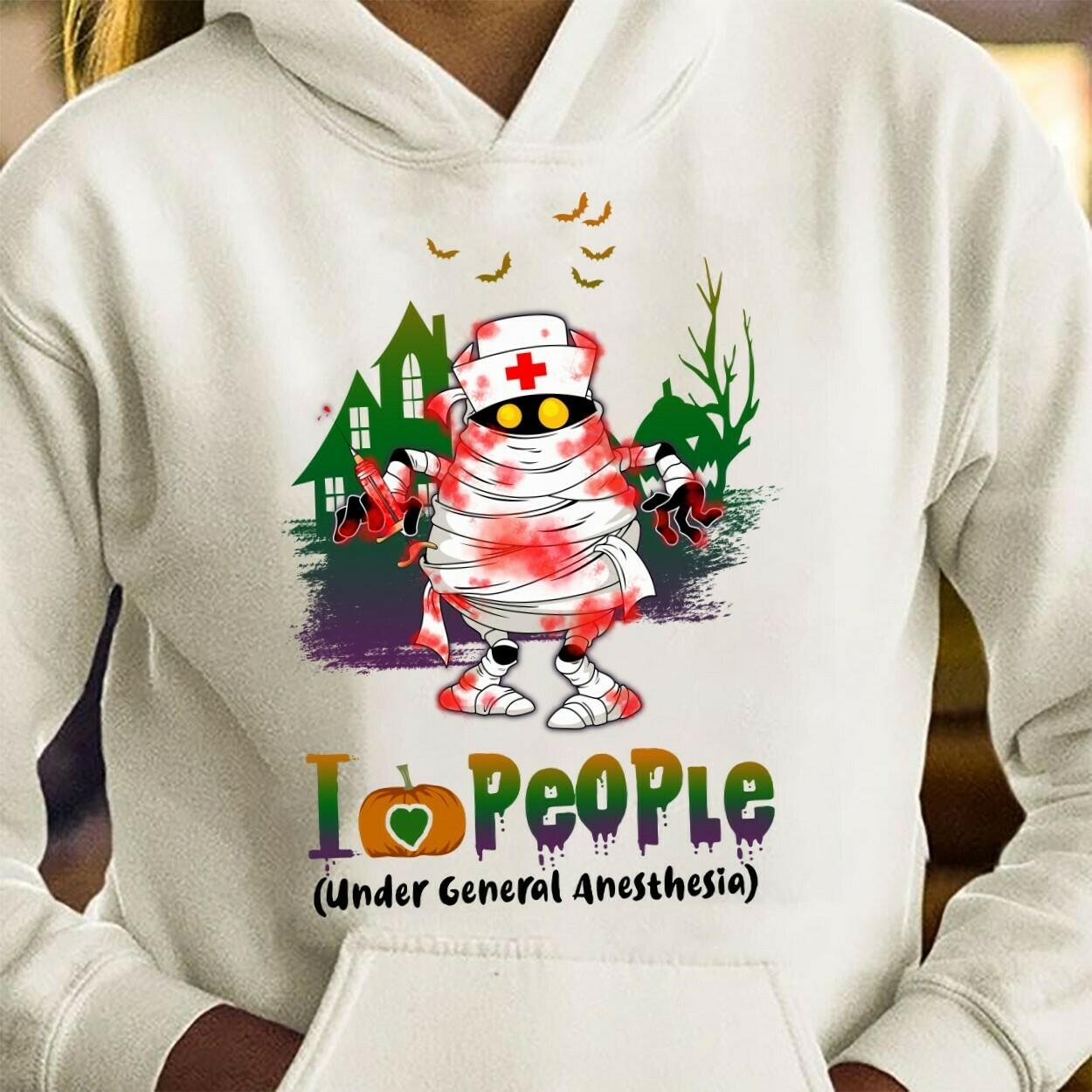 Zombie Nurse I Love People gift for Love Nurselife Heartbeats Nursing Student Graduation School RN Registered On Halloween Day T-Shirt Long Sleeve Sweatshirt Hoodie Jolly Family Gifts