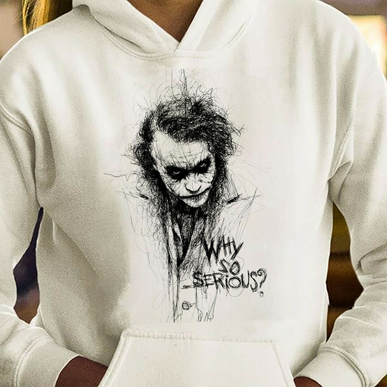 Joker Heath Ledger Sketch Gotham Why So Serious Gifts Idea For Fans Here Comes Your Favorite Super Villain Halloween Horror Unisex T-Shirt Long Sleeve Sweatshirt Hoodie Jolly Family Gifts