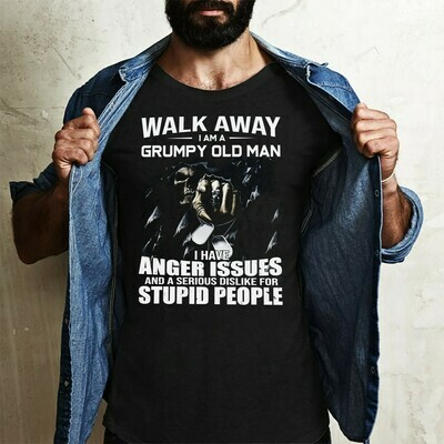 Walk away i am a grumpy old man i have anger issues stupid people death skull shirt, grandpa papa gifts,birthday shirts for daddy Long Sleeve Sweatshirt Hoodie Jolly Family Gifts