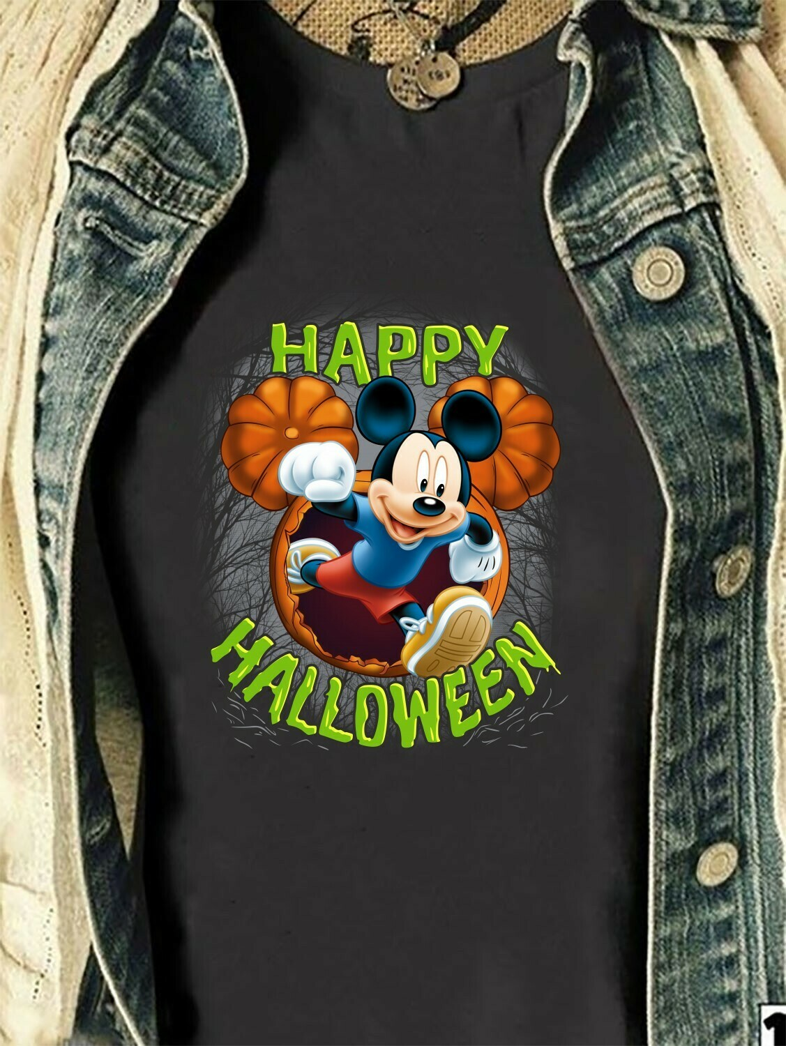 Disney Mickey Mouse Happy Halloween Pumpkin Mickey Head I'm going to Walt Disney Vacation Family Let's Go to Disney World T-Shirt Long Sleeve Sweatshirt Hoodie Jolly Family Gifts
