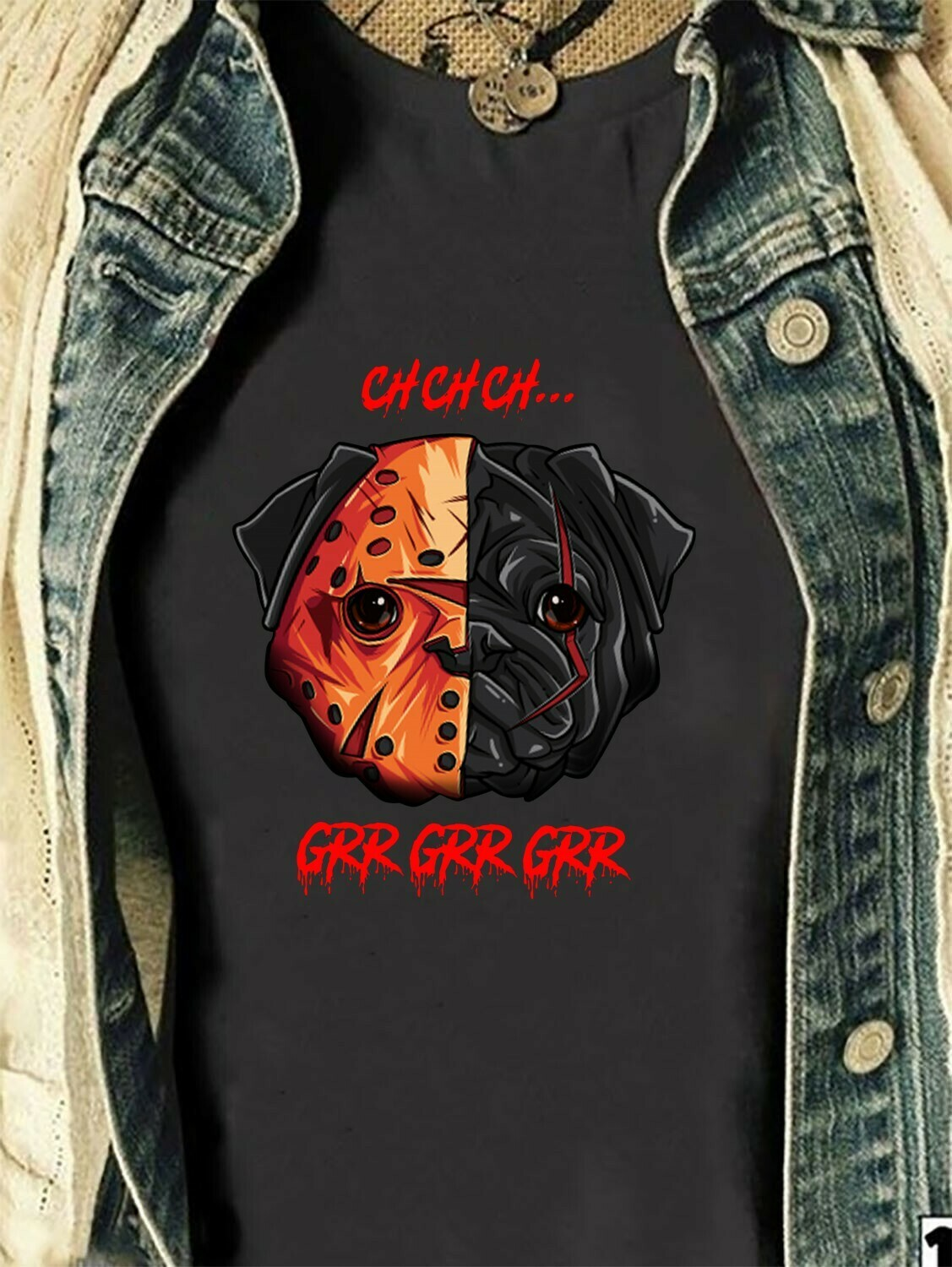 Pug Cosplay Jason Voorhees Joker IT Pennywise Dog Grr Grr Grr Gifts for Dogs Lovers Villains Halloween Horror Movie Mashup T-Shirt Long Sleeve Sweatshirt Hoodie Jolly Family Gifts