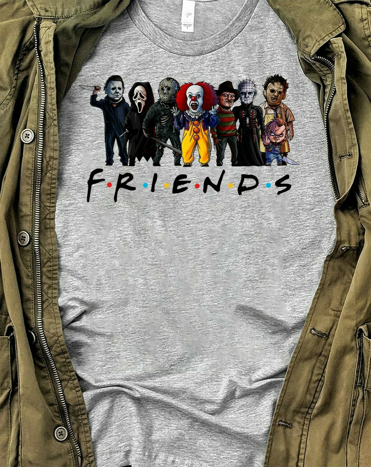 Horror Character Friends Pennywise Freddy Jason Myers Leatherface Chucky Squad Villains Halloween Horror Movie Squad Mashup T-Shirt Long Sleeve Sweatshirt Hoodie Jolly Family Gifts