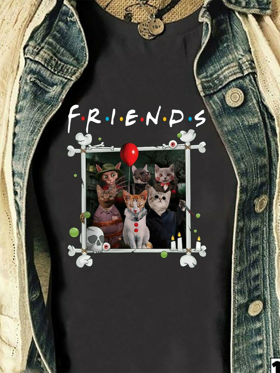 Cat Friends lovers, Cat horror charactor halloween, Cat joker IT, Pennywise Squad Reflection Villains Halloween Horror Movie Mashup T-Shirt Long Sleeve Sweatshirt Hoodie Jolly Family Gifts