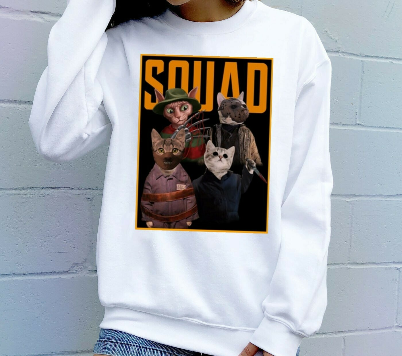 Cat Squad Reflection Squad Horror Friday The 13th Villains Halloween Horror Movie Mashup Halloween squad Unisex T-Shirt Long Sleeve Sweatshirt Hoodie Jolly Family Gifts