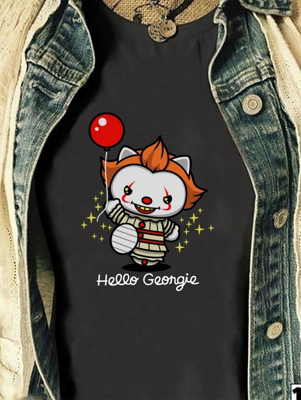 Funny Hello Kitty Cosplay Hello Georgie IT Joker Pennywise 2019 Horror Spooky Clown Balloons Villains Halloween Movie Mashup Gifts T-Shirt Long Sleeve Sweatshirt Hoodie Jolly Family Gifts