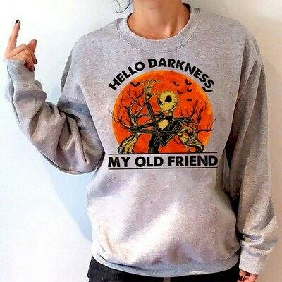 Jack Skellington Hello Darkness My Old Friend The Nightmare Before Christmas Halloween Disney Villains Halloween Mickey Not So Scary T Shirt Long Sleeve Sweatshirt Hoodie Jolly Family Gifts