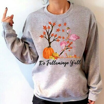 Pumpkins It's Flamingo Y'all Gifts For Lovers Autumn Women Grandma Mother Best Friend On Thanksgiving Vacation Party T-Shirt Long Sleeve Sweatshirt Hoodie Jolly Family Gifts