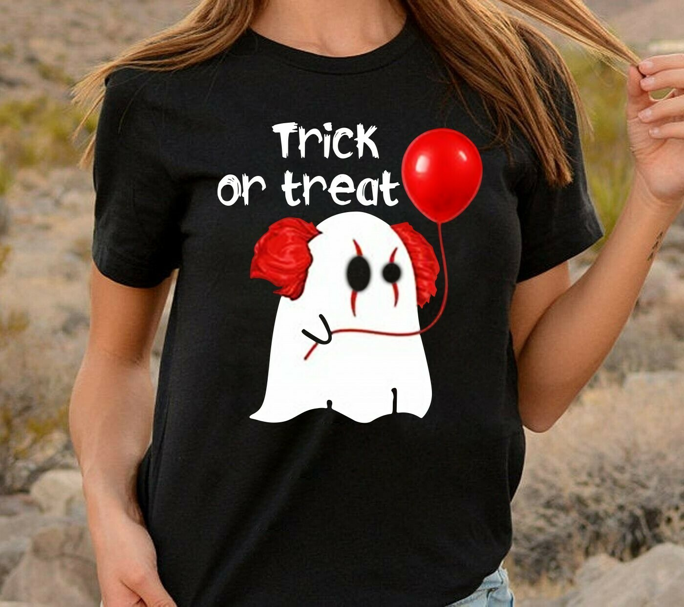 Boo IT Joker Pennywise Trick Or Treat We All Float Down Here Horror Spooky Clown Balloons Villains Halloween Movie Mashup Gift UnisexT-Shirt Long Sleeve Sweatshirt Hoodie Jolly Family Gifts