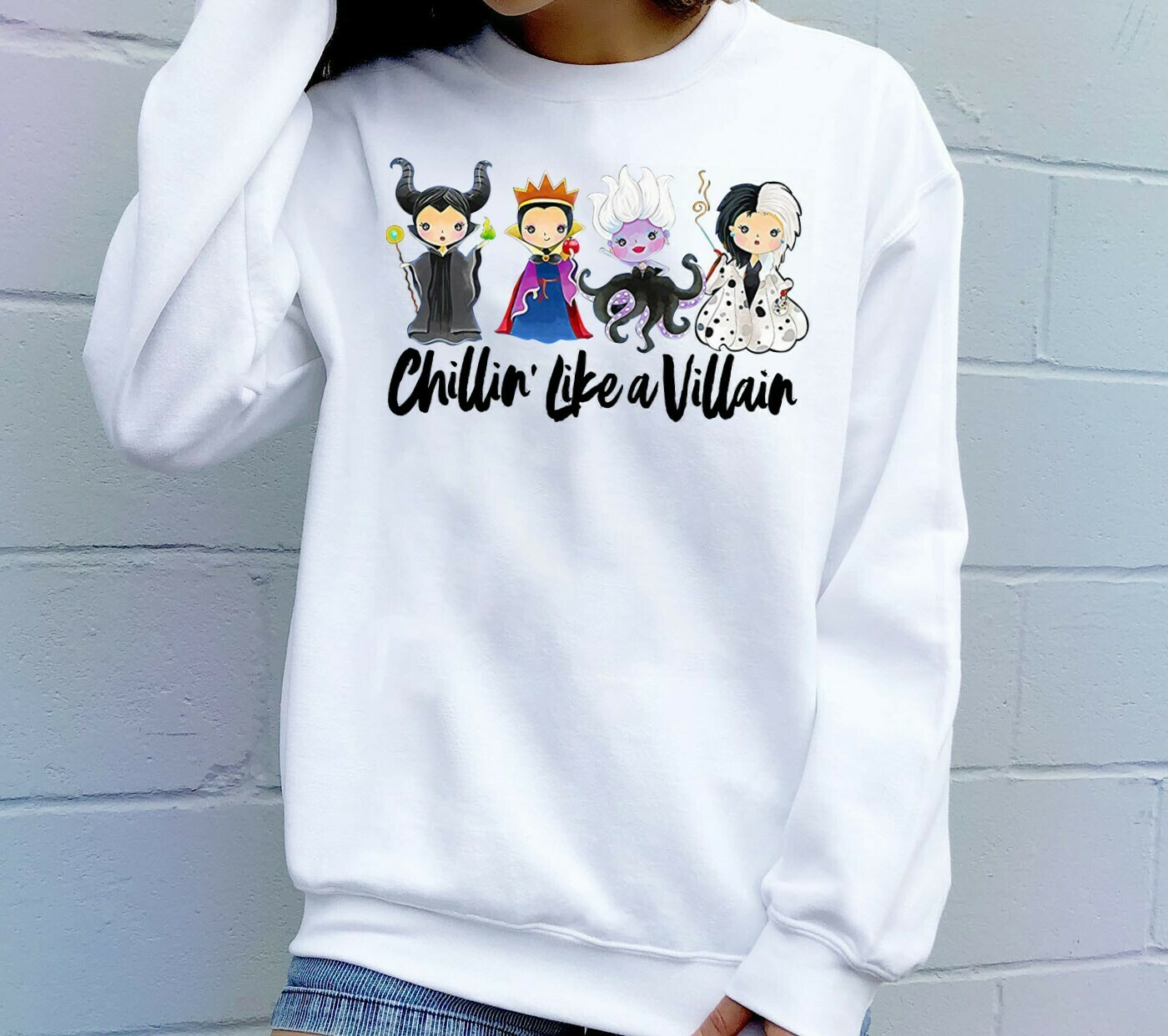 Chillin Like A Villain Disney Villains Bad Girls Squad Have More Fun Walt Disney World Disneyland Park Family Vacation T Shirt Long Sleeve Sweatshirt Hoodie Jolly Family Gifts
