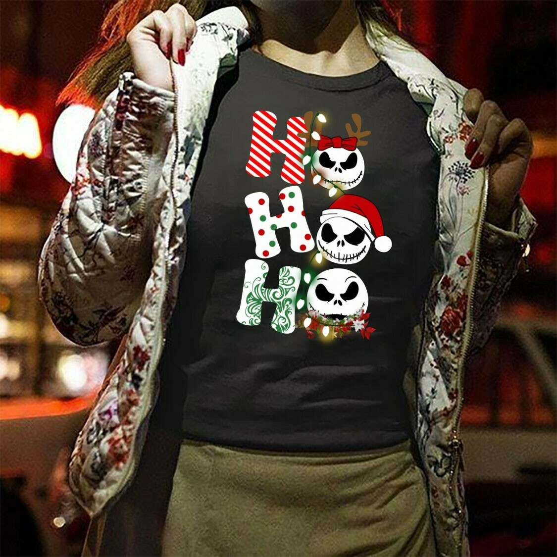 Jack Skellington Merry Christmas 2019 HoHoHo Hocus Pocus The Nightmare Before Christmas Halloween Disney Villain Mickey Not So Scary T-Shirt Long Sleeve Sweatshirt Hoodie Jolly Family Gifts