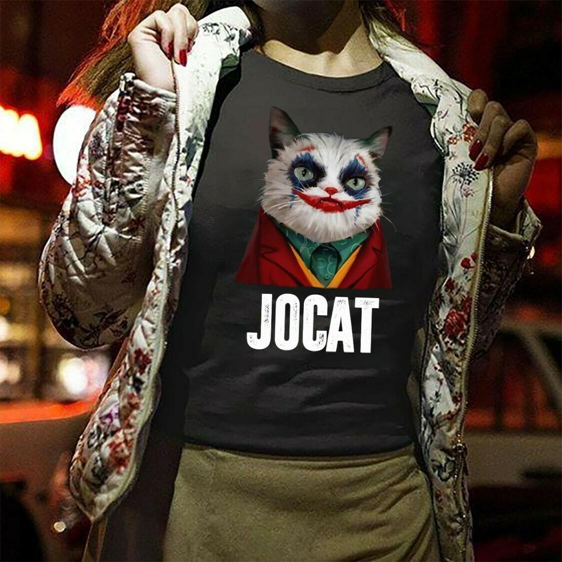 Funny Kitty Cat Cosplay Jocat Joker Movie 2019 Gifts For Fans Here Comes Your Favorite Villain Hero Halloween Movie Mashup Unisex T-Shirt Long Sleeve Sweatshirt Hoodie Jolly Family Gifts