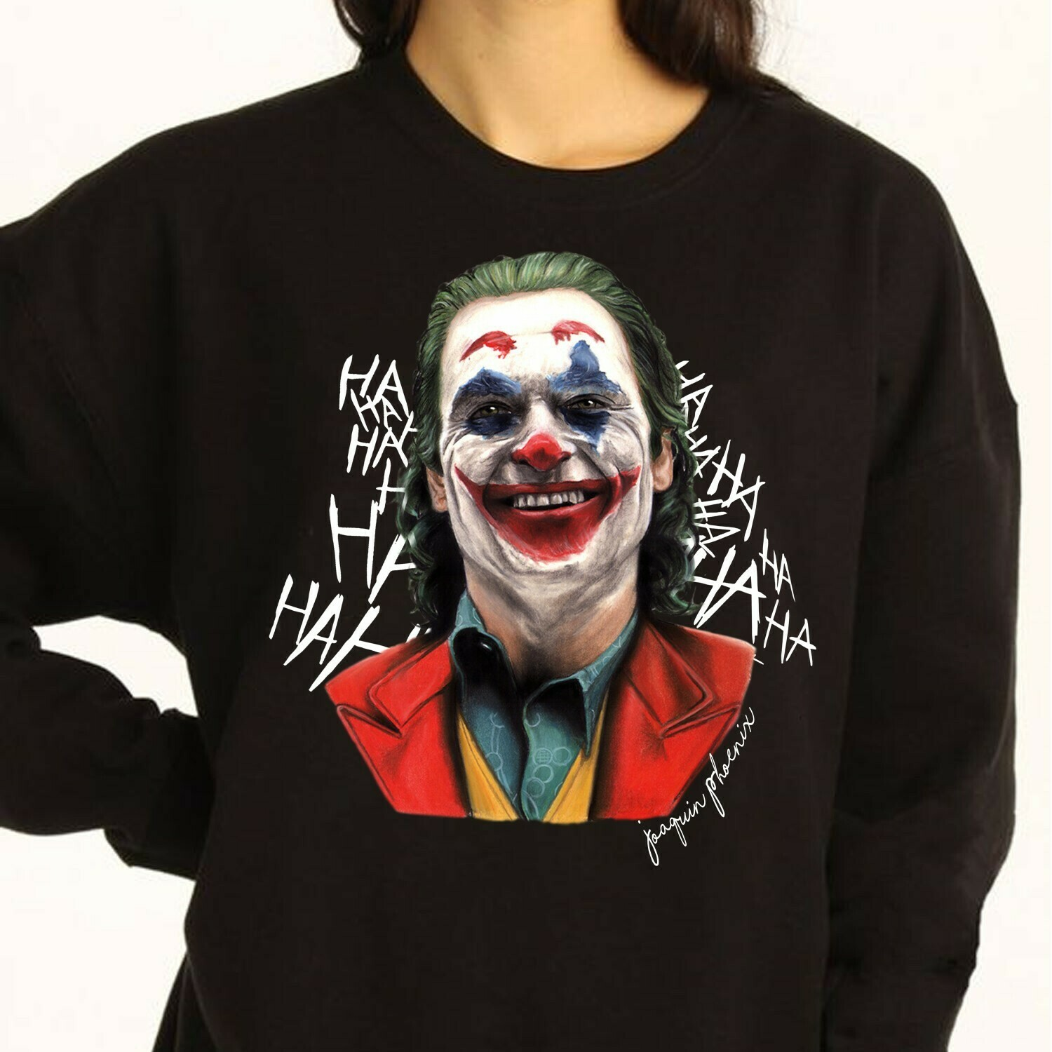 Joaquin Phoenix 2019 Joker Movie Gifts Idea For Fans Here Comes Your Favorite Villain Halloween Movie T-shirt Long Sleeve Sweatshirt Hoodie Jolly Family Gifts