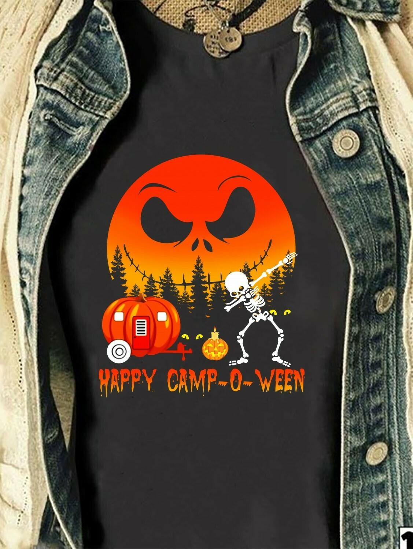 Happy Camp-O-Ween Moon Jack Skellington Skull Gift shirt for Lovers Halloween Party Long Sleeve Sweatshirt Hoodie Jolly Family Gifts