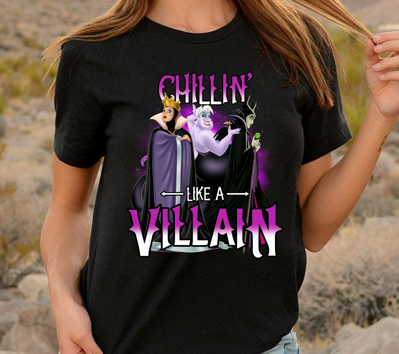 Chillin Like A Villain Disney Villains Bad Girls Have More Fun Walt Disney World Disneyland Park Family Vacation T Shirt Long Sleeve Sweatshirt Hoodie Jolly Family Gifts