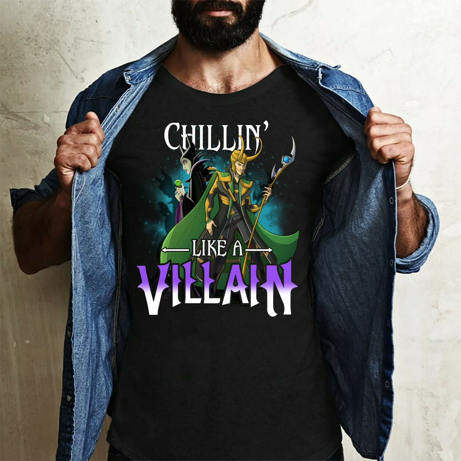 Chillin Like A Villain Maleficent Loki Disney Villains Bad Girls Have More Fun Walt Disney World Disneyland Park Family Vacation T Shirt Long Sleeve Sweatshirt Hoodie Jolly Family Gifts