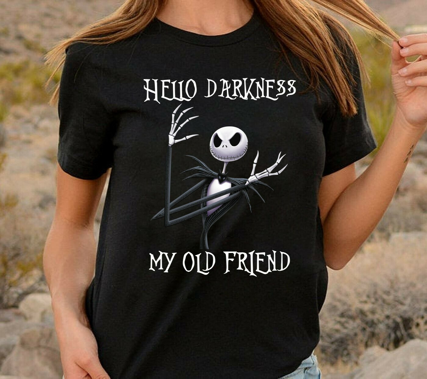 Hello Darkness My Old Friend Jack Skellington The Nightmare Before Christmas Halloween Disney Villains Halloween Mickey Not So Scary T Shirt Long Sleeve Sweatshirt Hoodie Jolly Family Gifts