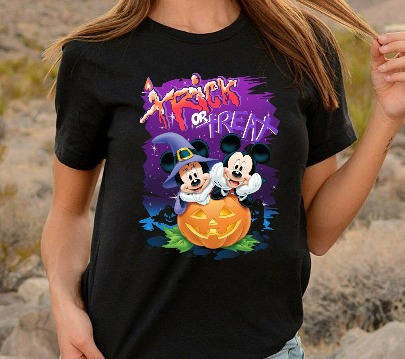 Mickey Minnie Trick Or Treat Disney Halloween Castle I'm going to Walt Disney Vacation Family Let's Go to Disney World Disneyland T Shirt Long Sleeve Sweatshirt Hoodie Jolly Family Gifts