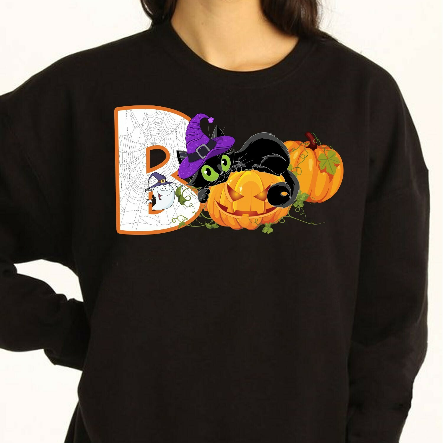 Boo Cat Witch Halloween Pumpkin Ghost Family Vacation Team Party Gifts T- Shirt Long Sleeve Sweatshirt Hoodie Jolly Family Gifts