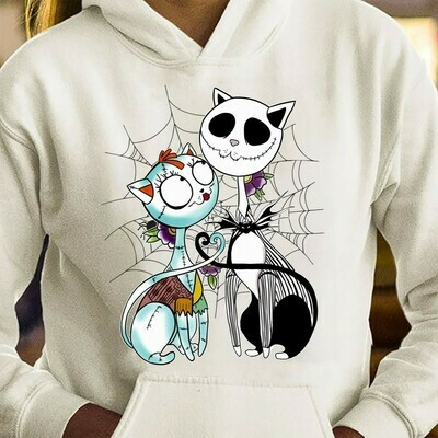 Cat Halloween Jack Skellington Sally Hocus Pocus The nightmare before Christmas T-Shirt Long Sleeve Sweatshirt Hoodie Jolly Family Gifts