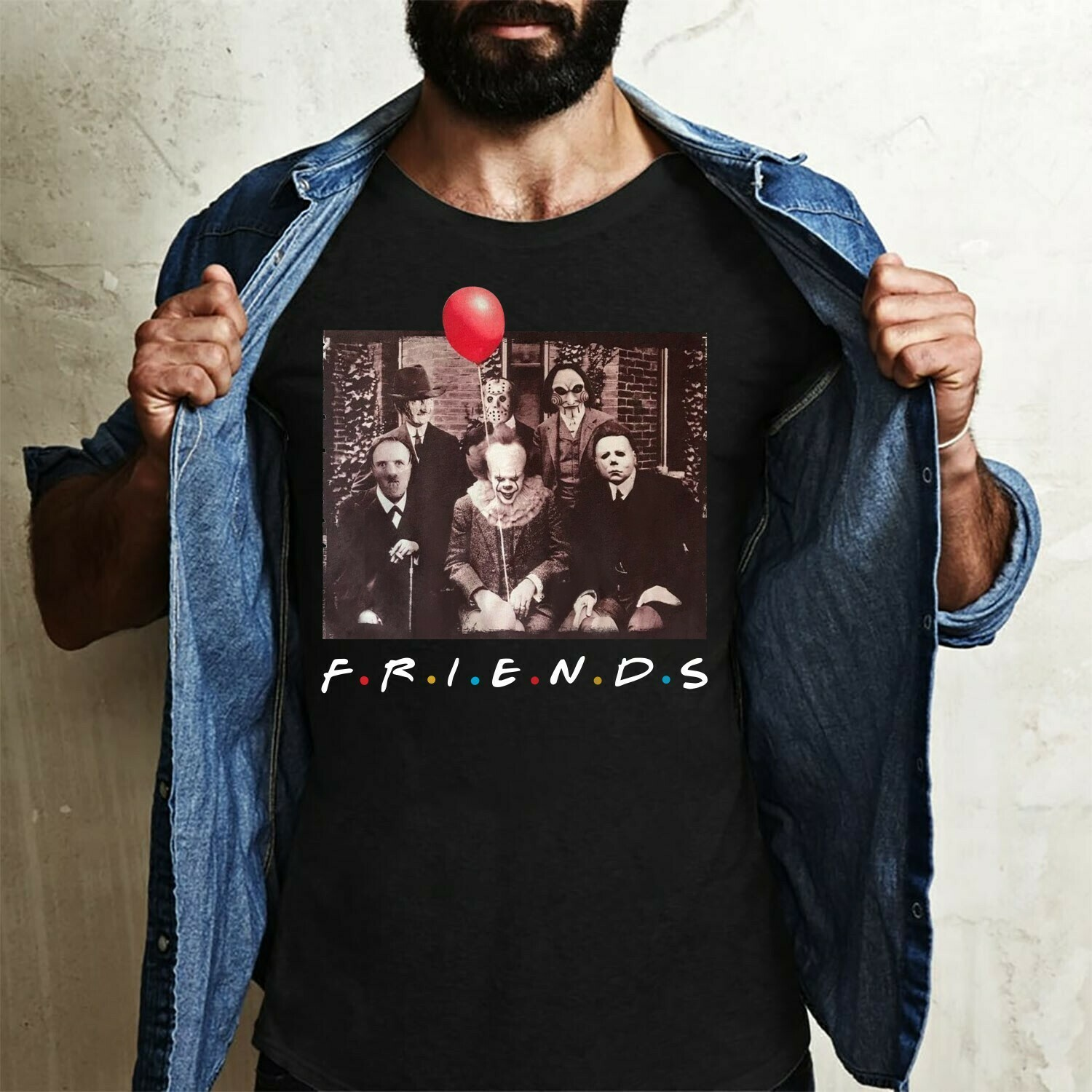 Friends IT Pennywise We All Float Down Here Squad Friday The 13th Villains Halloween Horror movie mashup Halloween squad tee tshirt T Shirt Long Sleeve Sweatshirt Hoodie Jolly Family Gifts
