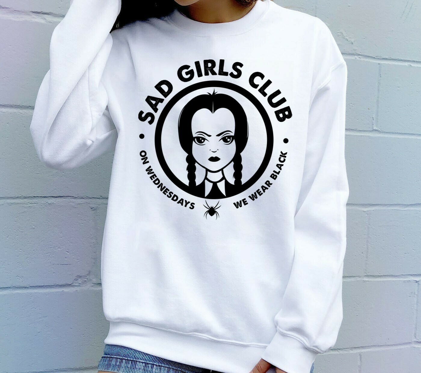 Sad Girls Club Wednesday Addams Adorable little witch, Morticia's Addams daughter The hero of cosplay Gift T-shirt for Halloween day Long Sleeve Sweatshirt Hoodie Jolly Family Gifts