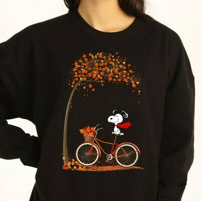 Happy Fall Autumn Leaves Snoopy Halloween Shirt Gifts For Lovers Autumn Family Vacation Party T-Shirt Long Sleeve Sweatshirt Hoodie Jolly Family Gifts