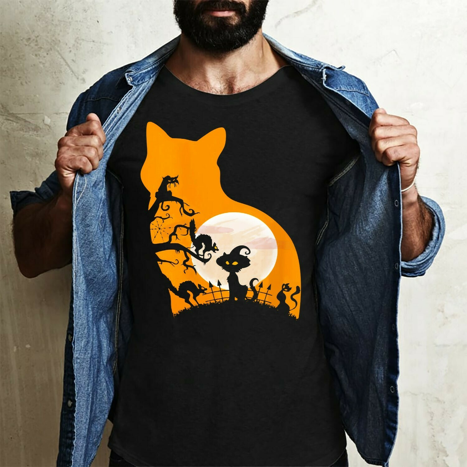 Cat Witch In The Moonlight Halloween Black Cat Lady Not So Scary Gift for Loves Halloween Day Family Vacation Team Party Gifts T-Shirt Long Sleeve Sweatshirt Hoodie Jolly Family Gifts