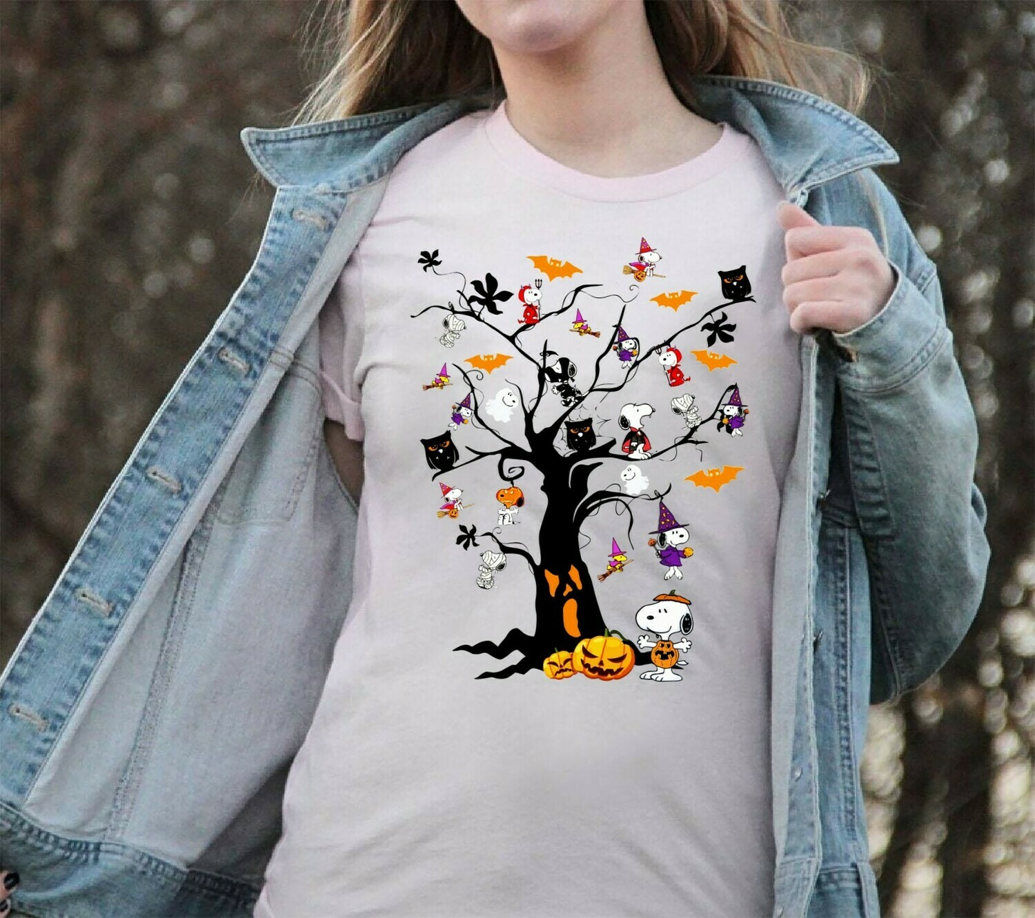 Snoopy Halloween Tree Shirt - Great Pumpkin Perfect Gift Idea For Halloween T shirt Long Sleeve Sweatshirt Hoodie Jolly Family Gifts