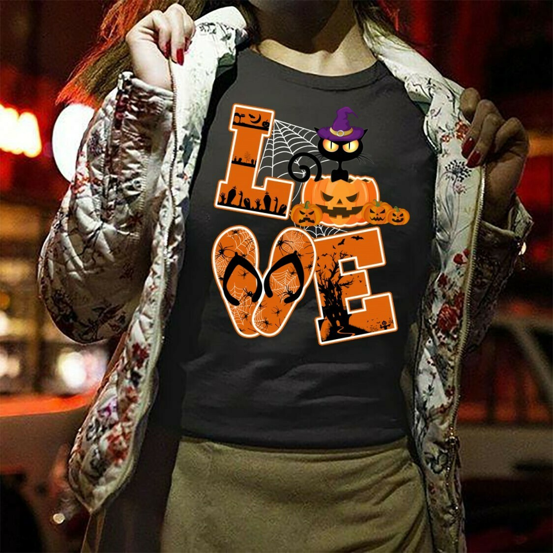 Love Cat Halloween Gift shirt For Lovers Cat Pumpkin Halloween Gift shirt for Women Mother Grandma Long Sleeve Sweatshirt Hoodie Jolly Family Gifts