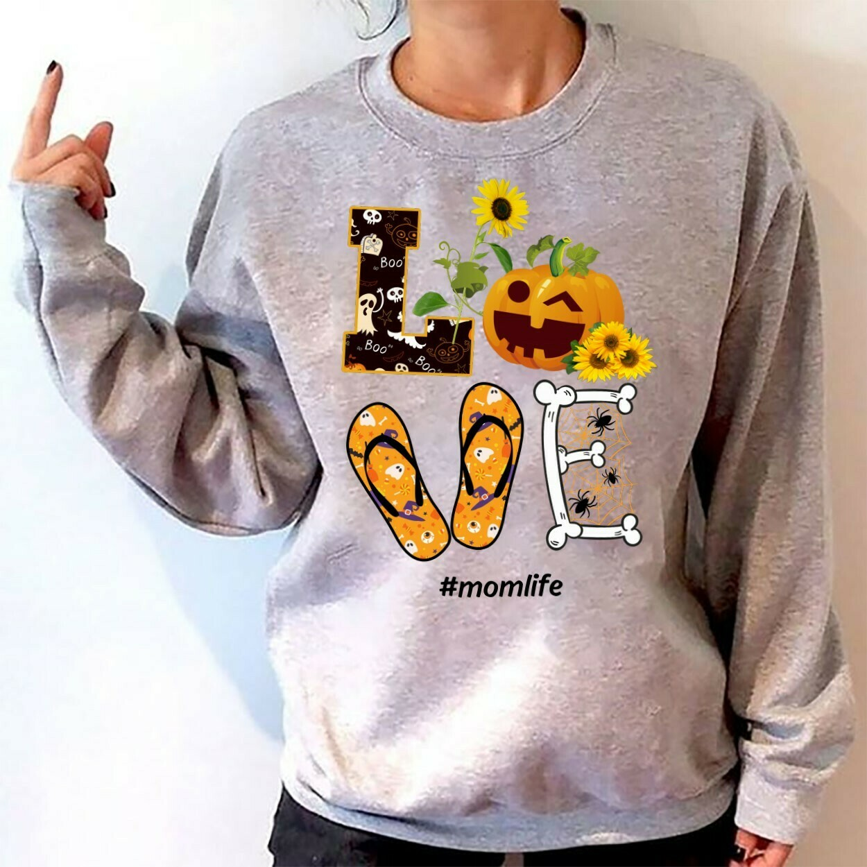Love Momlife Pumpkin Halloween Gifts T-Shirts for Best Mother Mommy Family Halloween Vacation Shirt Tee Long Sleeve Sweatshirt Hoodie Jolly Family Gifts