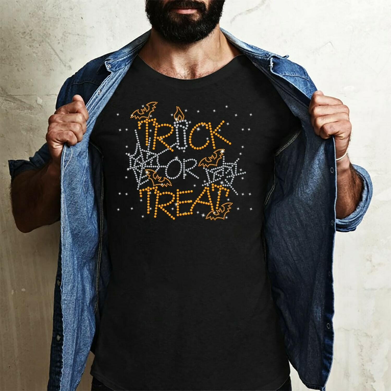 Trick or treat Halloween Bat Pumpkin Witch Halloween Costume Clothing Gift T-Shirt Long Sleeve Sweatshirt Hoodie Jolly Family Gifts