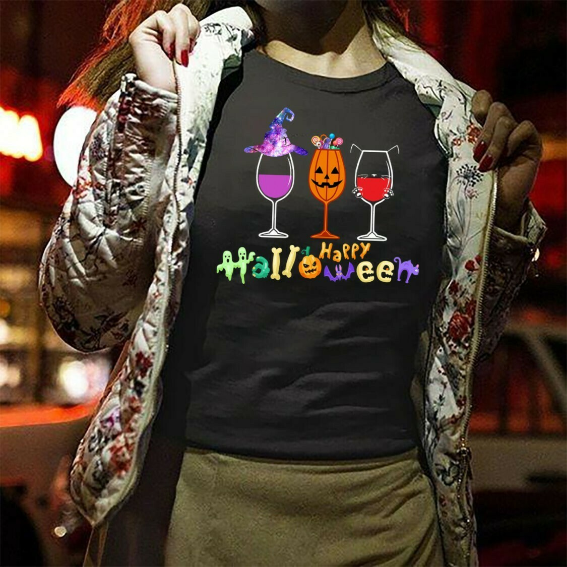 Three Wine Glasses Happy Halloween Wine Glasses Cosplay Witch Trick Or Treat Kitty Gifts For Best Friend Family Halloween Party T-shirt Long Sleeve Sweatshirt Hoodie Jolly Family Gifts