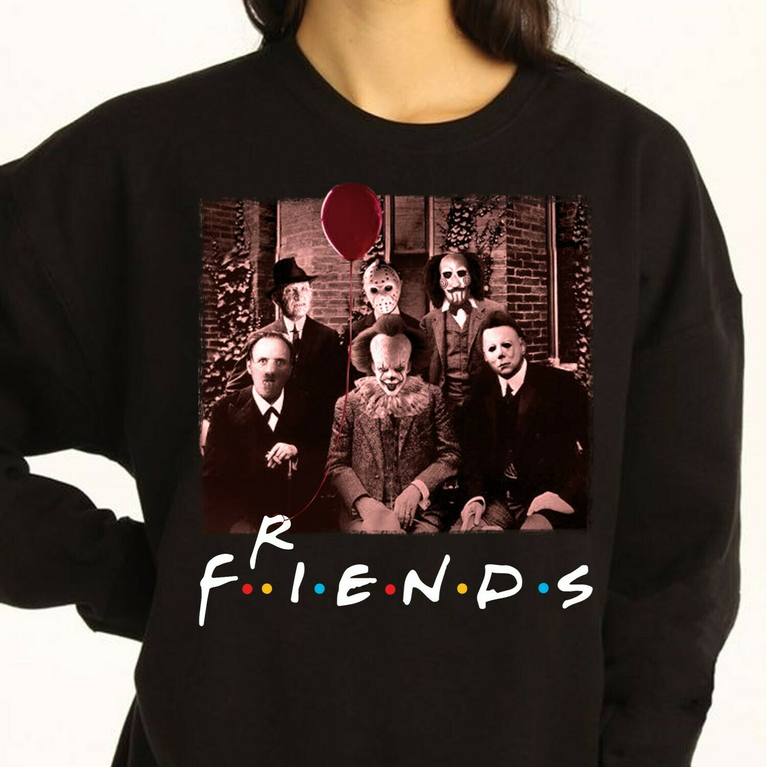 Friends IT Pennywise We All Float Down Here Squad Friday The 13th Villains Halloween Horror movie mashup Halloween squad tee T Shirt Long Sleeve Sweatshirt Hoodie Jolly Family Gifts