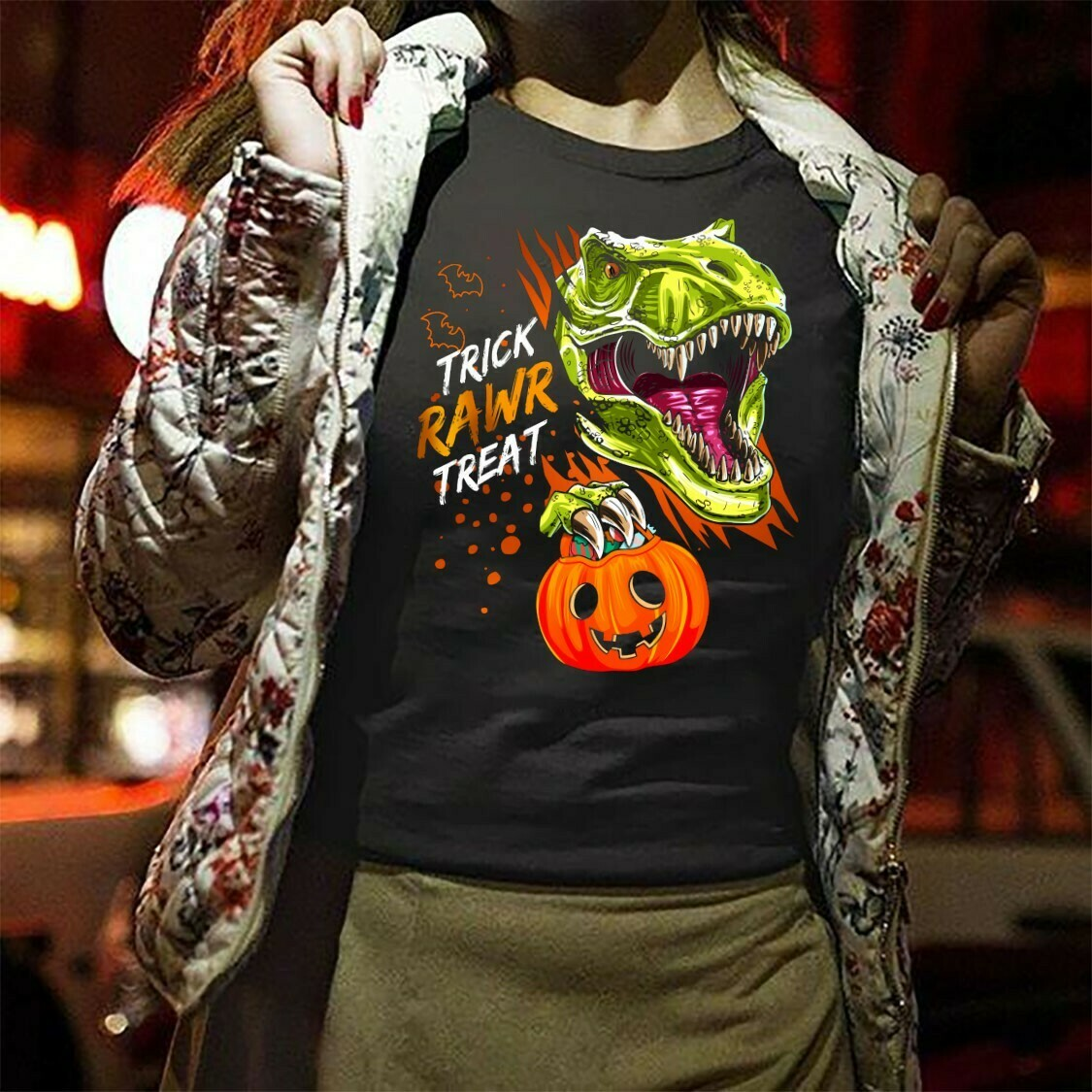 Dinosaur T-rex Trick Rawr Treat Halloween Pumpkin Candy Not So Scary Gifts For Halloween day Family Vacation Party Unisex T-shirt Long Sleeve Sweatshirt Hoodie Jolly Family Gifts