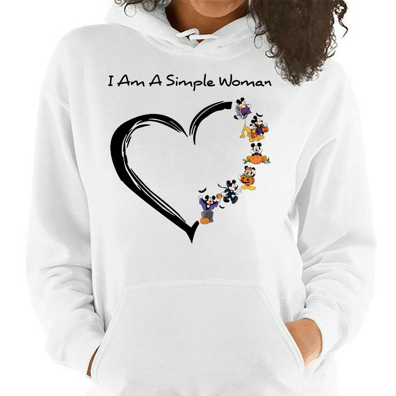 I Am A Simple Woman Who Love Disney Mickey Mouse Pumpkin Halloween I'm going to Walt Disney Vacation Family Disneyland Tee Park T Shirt Long Sleeve Sweatshirt Hoodie Jolly Family Gifts