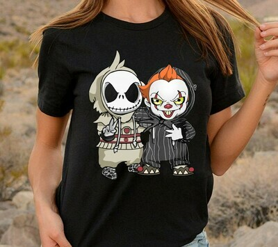 IT Pennywise We All Float Down Here And Jack Skellington The Nightmare Before Christmas Disney Villain Halloween Mickey Not So Scary T Shirt Long Sleeve Sweatshirt Hoodie Jolly Family Gifts