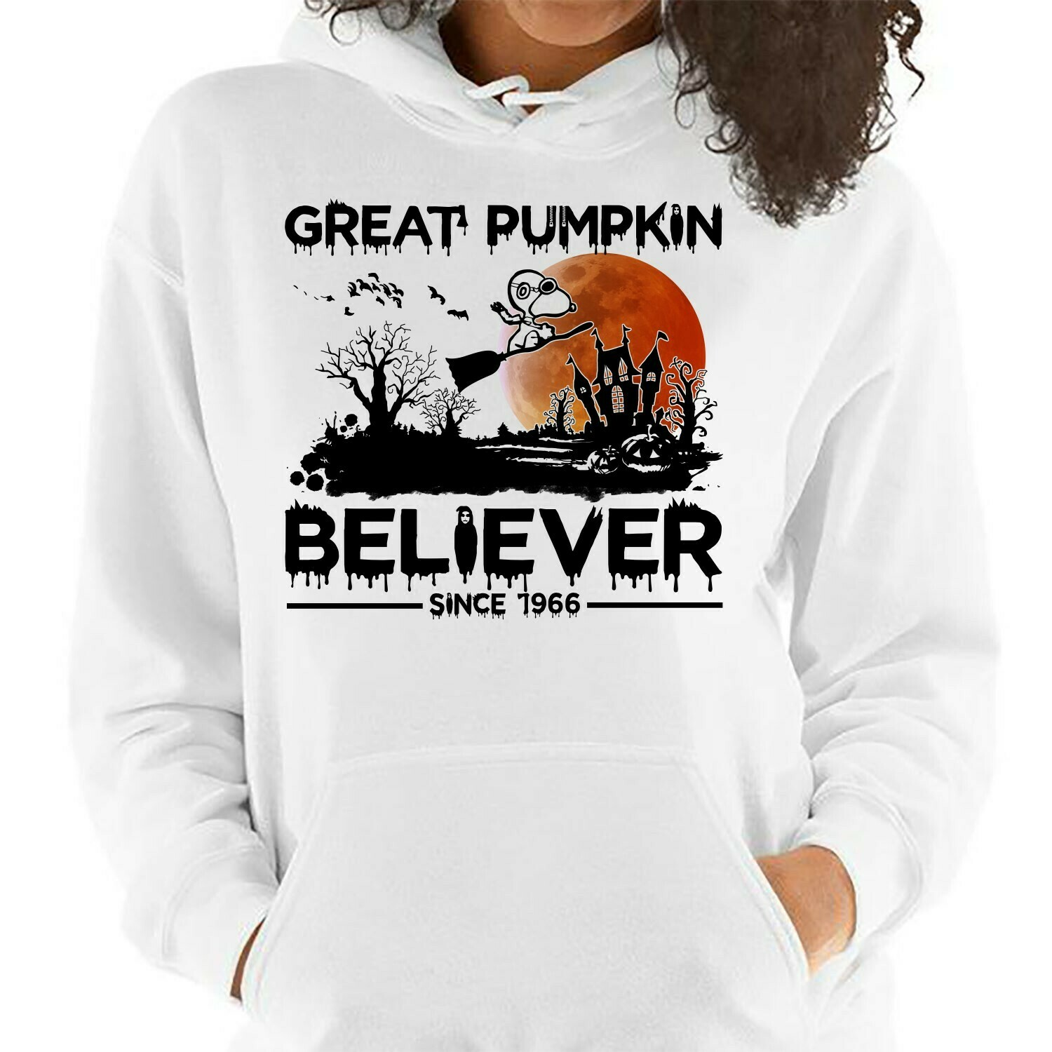 Snoopy Halloween Great Pumpkin Believe Since 1966,Snoopy Witch Halloween Costume,Ghost Bat Family Vacation Gifts T-Shirt Long Sleeve Sweatshirt Hoodie Jolly Family Gifts