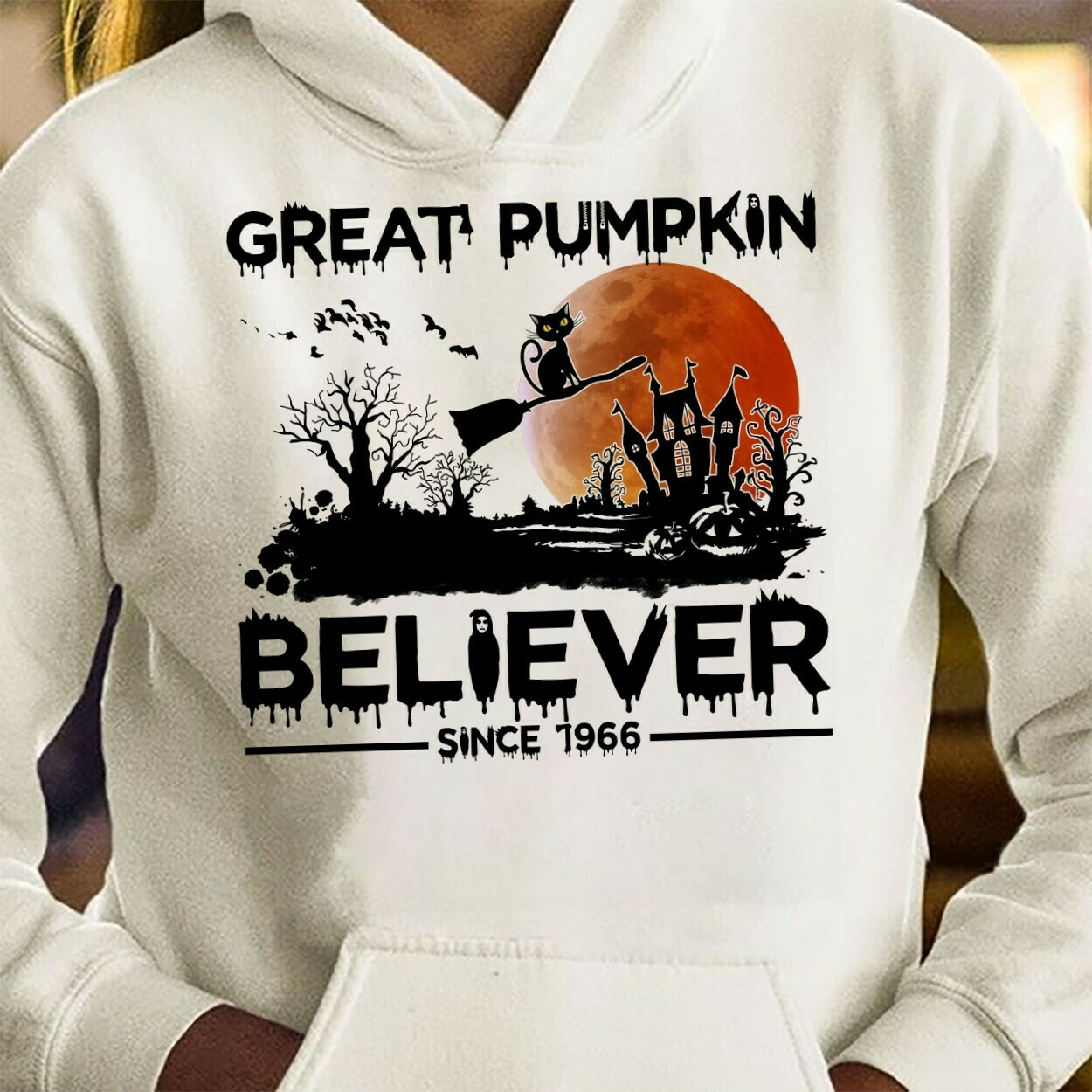 Cat Halloween Great Pumpkin Believe Since 1966,Scary Black Cat Witch,Halloween Kitty Costume,Ghost Bat Family Vacation Gifts T-Shirt Long Sleeve Sweatshirt Hoodie Jolly Family Gifts