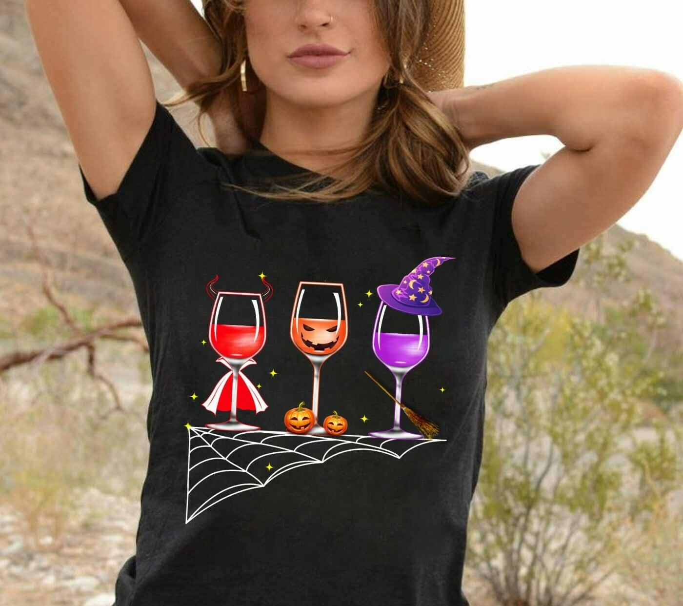 Wine Halloween Long Sleeve Sweatshirt Hoodie Jolly Family Gifts