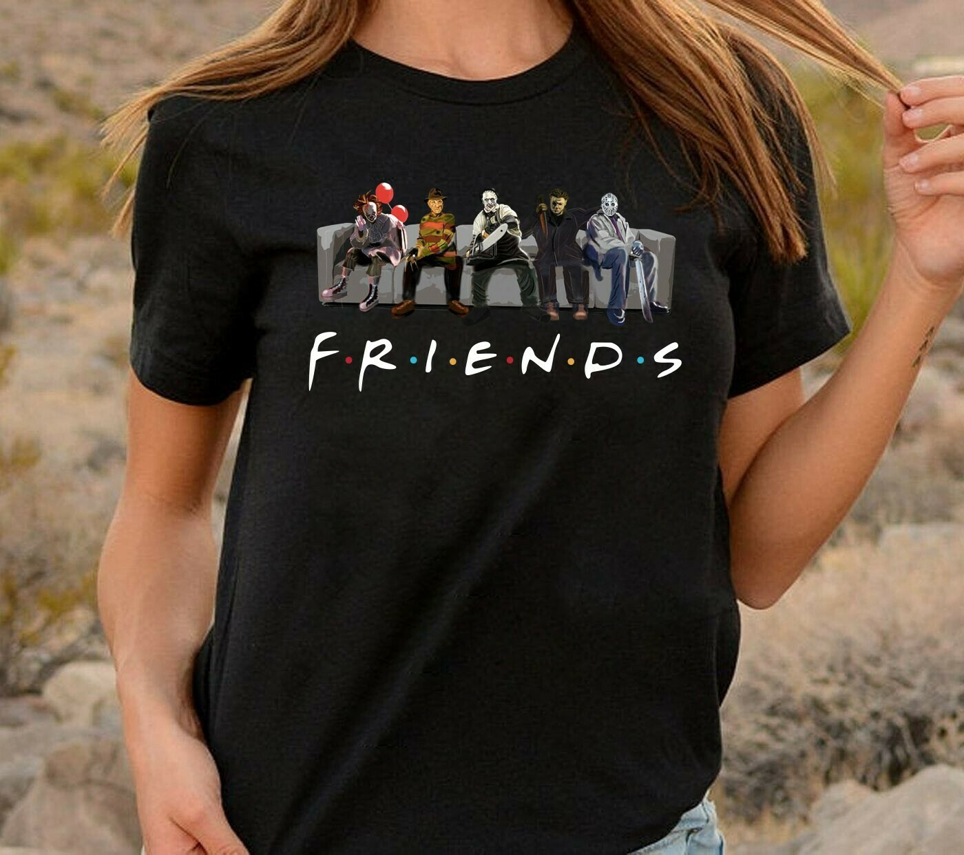 Horror Friends Sinister Friends TV Show T-Shirt Gift for Bestie Friends 90s-Horror IT Friends Shirt-Halloween Horror funny shirt Long Sleeve Sweatshirt Hoodie Jolly Family Gifts