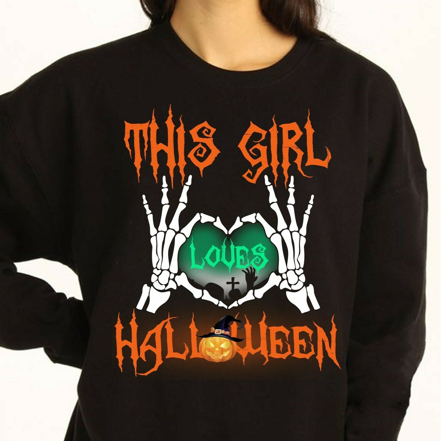 This Girl Love Halloween Long Sleeve Sweatshirt Hoodie Jolly Family Gifts
