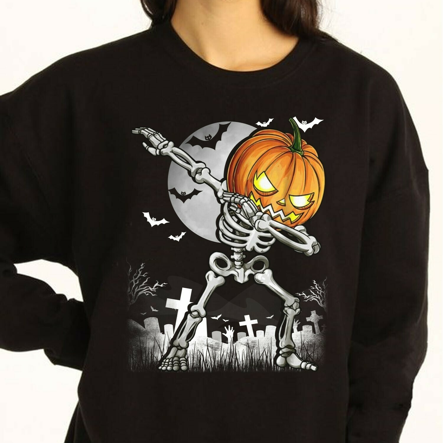 Pumpkin Halloween, Skeleton Skull Not So Scary Halloween Horror Costume,Ghost Bat Family Vacation Gifts T-Shirt Long Sleeve Sweatshirt Hoodie Jolly Family Gifts